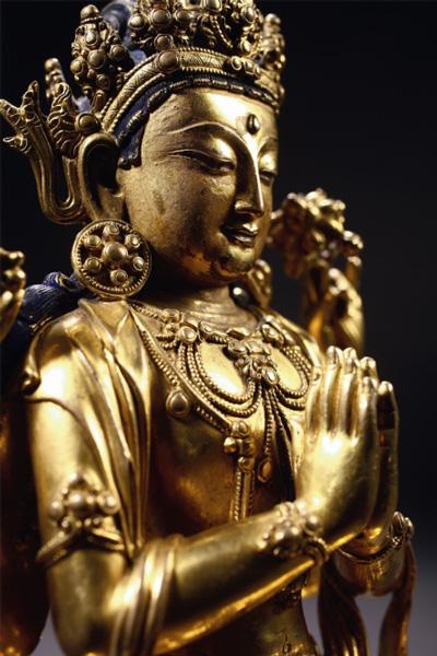 明永乐 铜鎏金四臂观音像(细节图)