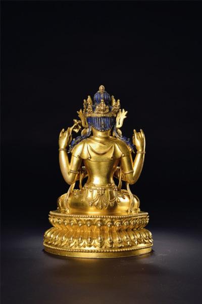 永乐 铜鎏金四臂观音像(背面图)