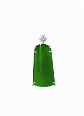 """瑞士古柏林实验室命名""""帝王玉""""缅甸天然翡翠配钻石挂坠,成交价4649.2万港元"""