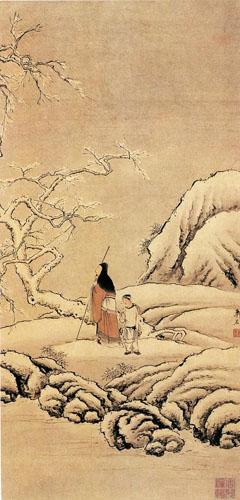 清 萧晨 《踏雪寻梅图》 青岛博物馆藏
