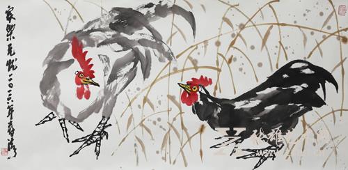 当代花鸟画家朱法鹏一幅长达近10米的雄鸡长卷图
