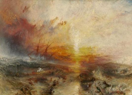 """透纳""""一不小心""""画了一幅《台风将至,奴隶贩子把死者和垂死者抛入海中》(1840年)"""