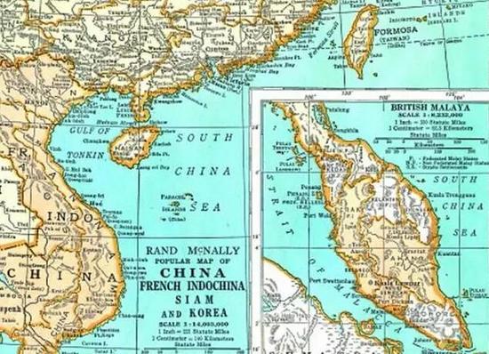 1947年美国印刷的南海地图