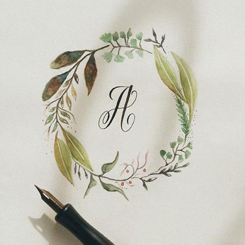 用水彩碎花花边围绕住英文字母