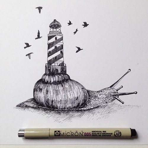 幻想主义色彩的针管笔画作