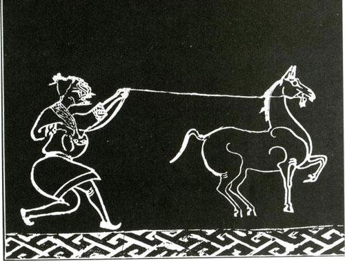 描绘捕获宝马故事的画像砖