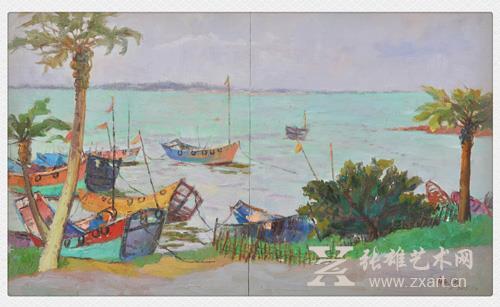林金钗 《六鳌风情》60x100cm  油画