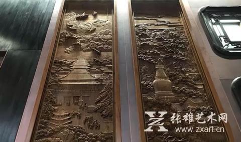 四周中国山水木雕