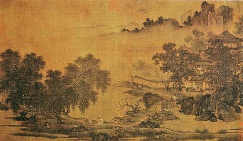 刘松年《四景山水图》春景图片