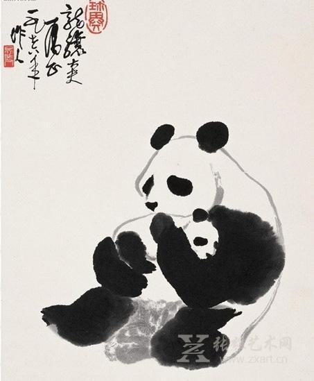 擅长画熊猫,他采用泼墨大写意的画法来描绘熊猫,寥寥数笔就将大熊猫的