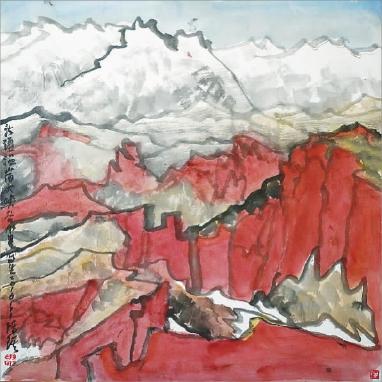 新疆采风写生之温宿大峡谷  陈 琪