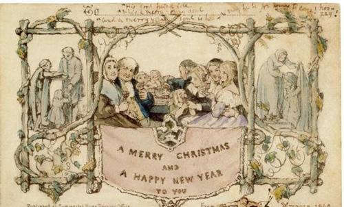 荷斯利设计的第一张圣诞卡,右下角还有他的自画像和署名。