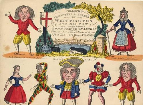 约1840年代哑剧《狄克・惠廷顿和他的猫》的一张人物表
