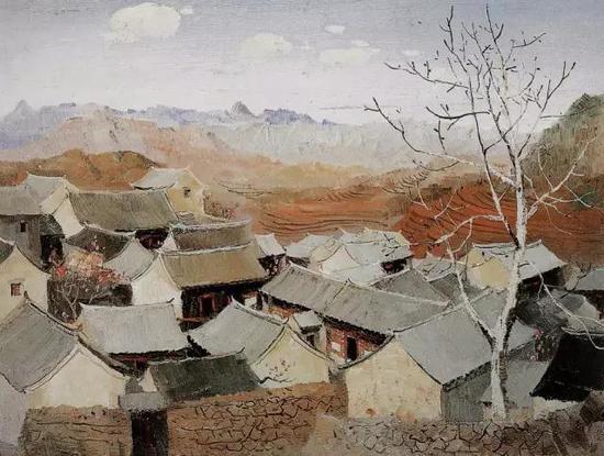 吴冠中,《京郊山村》,1963年,12月3日保利秋拍1250万元落槌