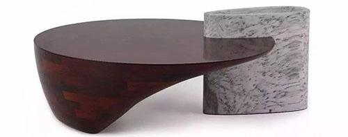 蒋琼耳 流云-红木相拼色变体低圆桌 成交价:60万元