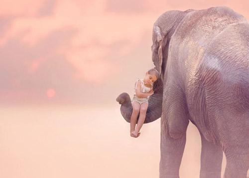 孩子意境唯美动物