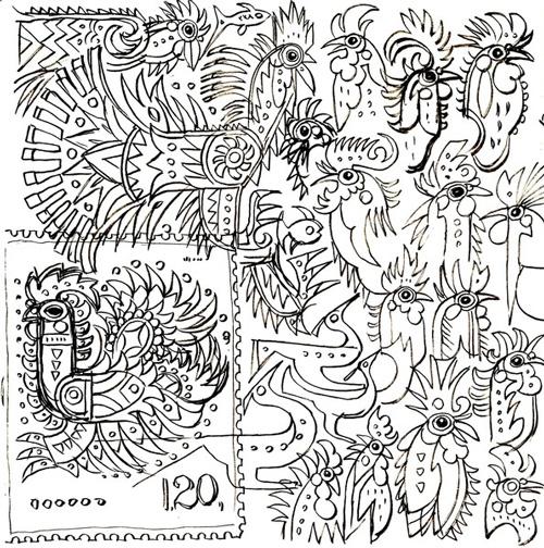 韩美林为设计《丁酉年》特种邮票创作的手稿图片