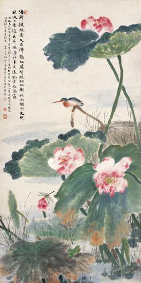 陆抑非1942年作《荷塘翠鸟图》立轴(西泠印社2005秋拍会上获价46.2万元)
