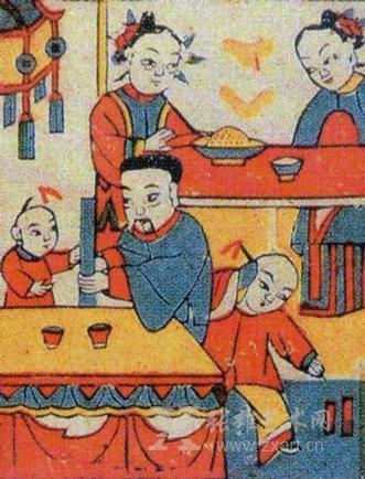 第四幅《年夜饭》刻绘过年时生活大为改善,一家人在吃饭,喝酒,放鞭炮.
