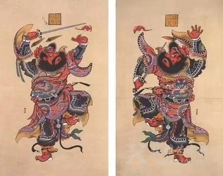 抽象的概念在木板年画中用具象的形式来表现,其夸张的艺术手法尤为