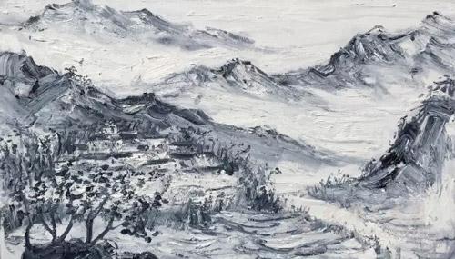 部分展览作品        《洪坑村如升楼》200x130cm 范迪安图片