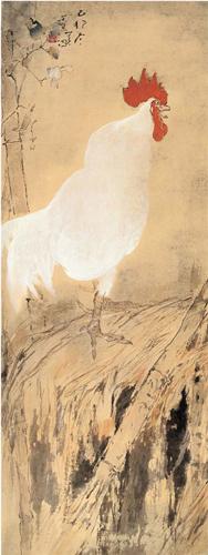 杨善深 雄鸡报晓图 纸本设色 99×37.5cm 作者捐赠 1999年