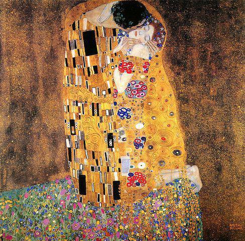 克林姆特亚当和夏娃_克林姆特通过其作品《吻》的构图表现爱的崇高与幸福.