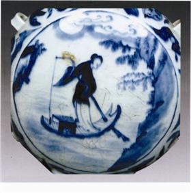 清代康熙年间青花瓷上的《秋江夜渡图》纹饰