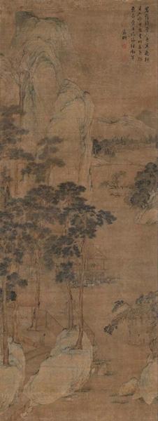 明代 文徵明《碧荫坐钓图》,立轴,设色绢本,北京保利2016 春季拍卖会,成交价368 万元。
