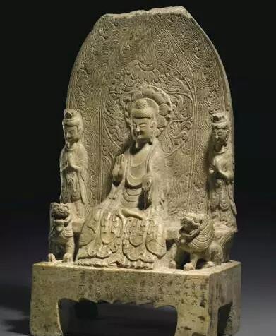 北魏孝昌二年(公元526年) 比丘法兴造释迦叁尊黄花石像 估价:美元 600,000- 800,000 成交价:美元 5,847,500
