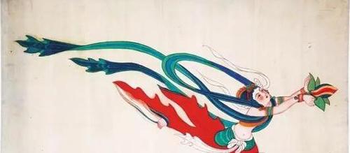 张大千临摹敦煌壁画作品:飞天图片