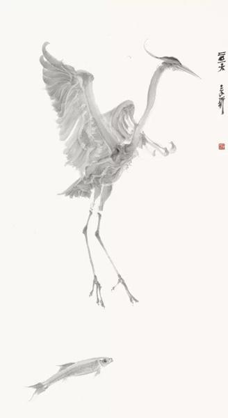 周京新--鱼鹭系列之四--152cm×83cm--2016年