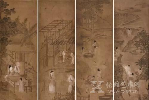 农作图四条屏--冷枚一派清宫廷画师作--衡水中国书画博物馆藏