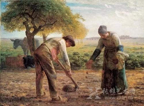 《种苹果树的夫妇》1861 - 1862 年,82.5x101.3cm