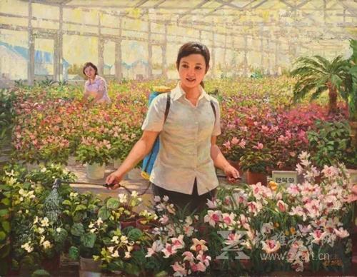 《精诚》全义吉 人民艺术家 朝鲜油画  123 x 96cm 2001年3月