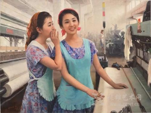 《纺织工姑娘们》李成旭  功勋艺术家  朝鲜油画 117x90cm  2008年