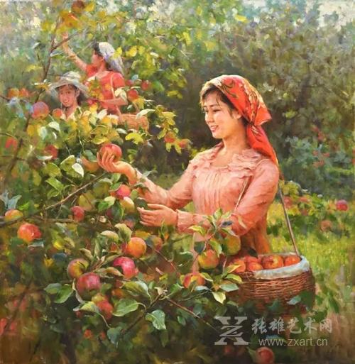 《喜悦丰收》金银淑 功勋艺术家 朝鲜油画  109 x 112cm 2010年5月20日
