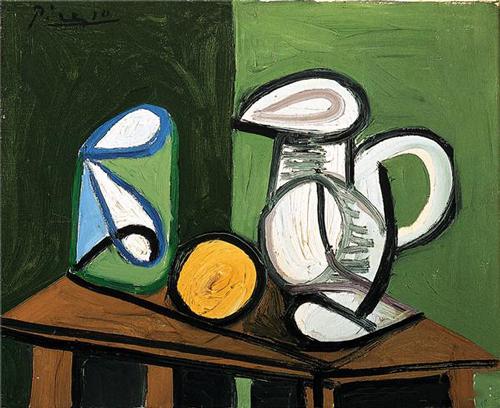 巴勃罗·毕加索的画作《静物:壶,玻璃杯和橙子》.