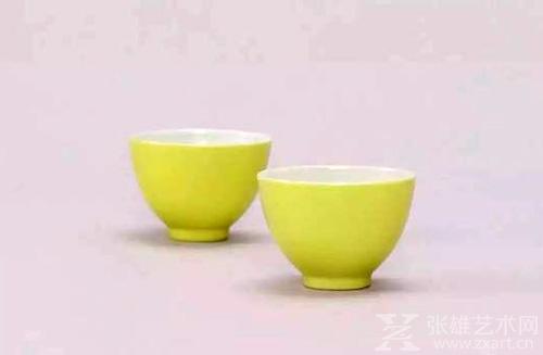 清雍正 柠檬黄釉杯一对