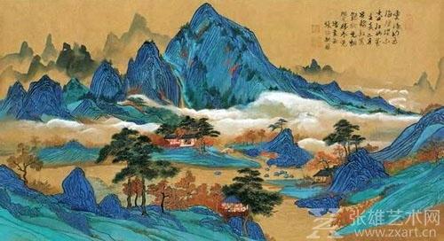 张大千青绿山水画-因为她,张伯驹才成为了真正的张伯驹 艺术大师背图片