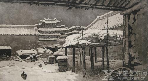 蒙古黑白版画风景