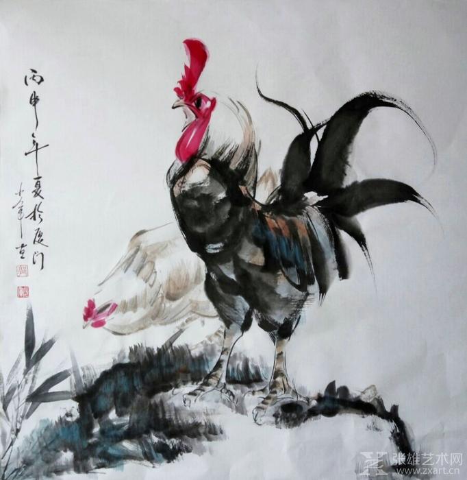 其佛教人物《达摩——苇过江图》,《水墨芭蕾》,《斗鸡》,《猫与鸡雏图片