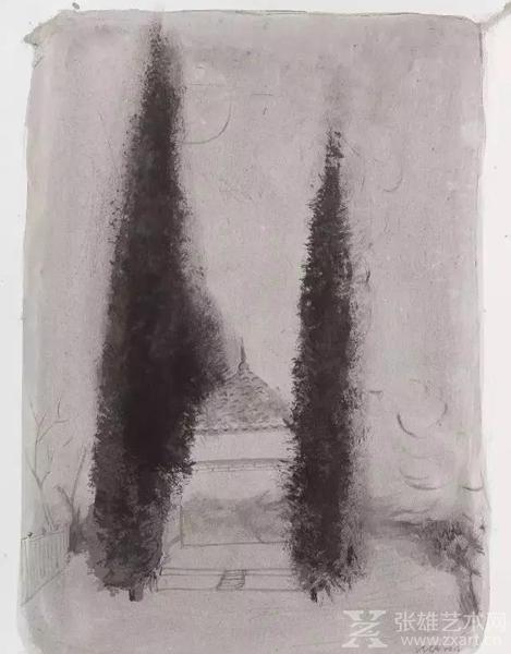 《两棵松树》郭超 54×39cm 纸本水墨 2015