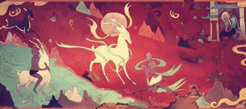 九色鹿救出溺水人 壁画