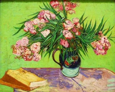 马约里卡瓷瓶中的夹竹桃(油画) 1888年 梵高