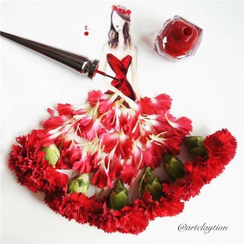 花瓣裙子手绘图片高清
