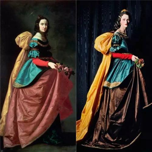 迈克尔?汤普森(Michael Thompson)拍摄的《卡门》灵感来源于西班牙画家苏尔瓦兰1640年的的《圣妇依撒伯尔》