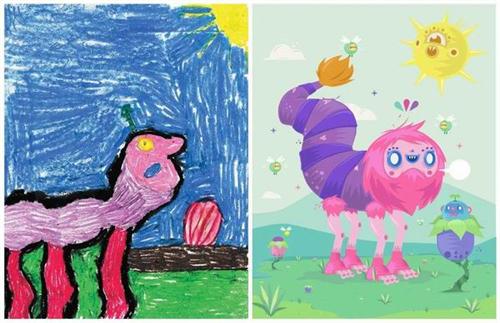 小学生画出自己心目中的怪物,然后交于世界各地的艺术家进行再创造.