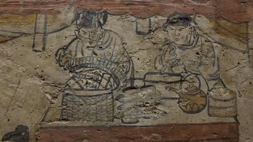 宋金元墓葬壁画上的世俗生活(阳泉东村东北壁·局部)
