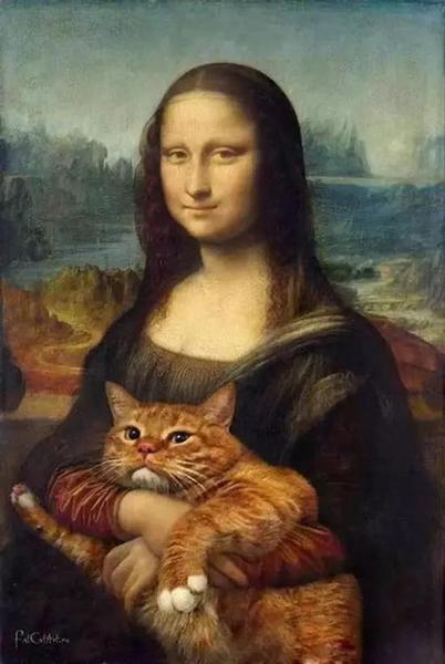 国外博物馆实力卖萌:卢浮宫里蒙娜丽莎抱猫咪图片